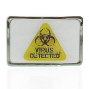 Boucle de ceinture Biohazard Virus detected contour chrome